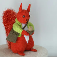 Autumnal Red Squirrel Hand Knitted Collectable Gift