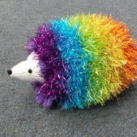 Sparkly Rainbow Coloured Cute Hand Knitted Hedgehog 16cm Long