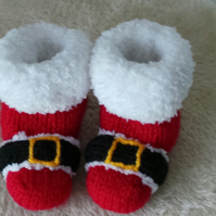 Red Santa Boots Baby Booties for Babys First Christmas 0-3 Month Size & Gift Bag