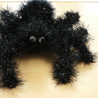Halloween Spider Decoration Hand Knitted with Tinsel Wool