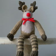 Red Nosed Reindeer Hand Knitted Christmas Decoration or Gift