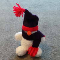 Snowman Hand Knitted Christmas Decoration or Gift