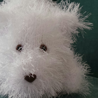 Playful White Westie Terrier Puppy Hand Knitted Collectable 26cm long