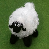 Black & White Sheep Hand Knitted Collectable 21cm long