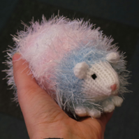 Sparkly Pastel Pink, Blue and White Coloured Hand Knitted Hedgehog 14cm Long