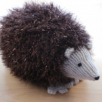 Brown Sparkly Tinsel Wool Hand Knitted Hedgehog Birthday or Christmas Gift