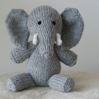 Little Grey Elephant Hand Knitted Christmas, Birthday or Baby Shower Gift