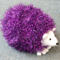 Sparkly Purple Coloured Cute Hand Knitted Hedgehog 16cm Long
