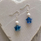 Blue and White Czech Glass Bead Star Earrings