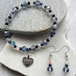 Blue and Clear Aurora Czech Crystal Bracelet & Earring Set with Filigree Heart