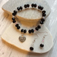 Black and Clear Aurora Czech Crystal Bracelet & Earring Set with Filigree Heart