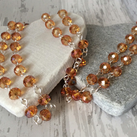 Long Amber Coloured Sparkly Faceted Flapper Style Crystal Necklace