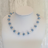 Silvery Blue Faceted Aurora Crystal Bead Necklace