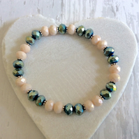 Cream & Metallic Green, blue Crystal Bracelet