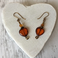 Deep Orange Czech Glass Heart & Bronze Earrings