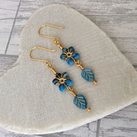 Blue & Gold Czech Glass Flower Earrings, Leaf Earrings, Floral Earrings