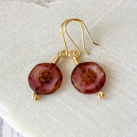 Pink Blush Czech Glass Flower Earrings, Floral Earrings, Pink & Gold Earrings