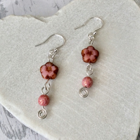 Sterling Silver and Rose Pink Czech Glass Flower Earrings, Floral Earrings