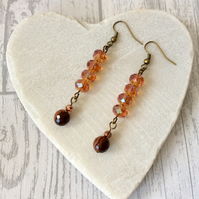 Fire Agate and Amber Coloured Sparkly Crystal Bead Earrings, Gemstone Earrings