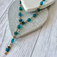 Sea Green,Blue & Bronze Czech Glass Y Necklace