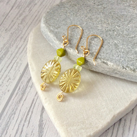 Golden Yellow, Lime Green, Lemon and Gold Oval Sun Ray Earrings