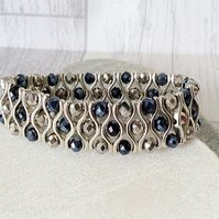 Dark Blue and Metallic Silver Sparkly Crystal Cuff Style Bracelet