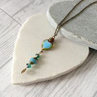 Rustic Turquoise Blue Czech Glass Heart Pendant and Bronze Chain