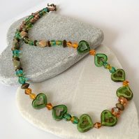 Green, Blue and Amber Handmade Czech Glass Heart Necklace