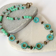 Turquoise Blue & Green Handmade Czech Glass Flower Necklace