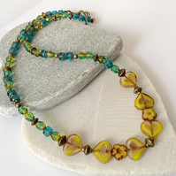 Mustard Yellow and Emerald Green Czech Glass Heart & Flower Necklace