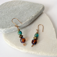 Turquoise Blue & Bronze Czech Glass Earrings