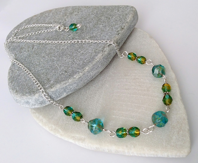 Sea Green, Emerald Green, Mustard & Silver Czech Glass Necklace