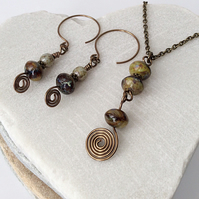 Bronze, Rustic Olive & Brown Czech Glass Pendant and Earring Set