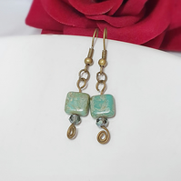 Green & Bronze Square and Crystal Bead Earrings, Czech Glass Earrings