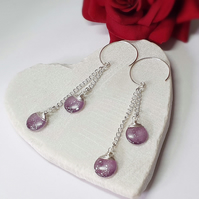 Long Purple & Silver Disc Earrings with Hoop Style Ear Wires