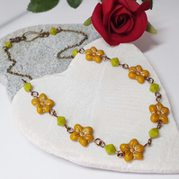 Mustard Yellow & Lime Green Flower Necklace, Floral Czech Glass Necklace