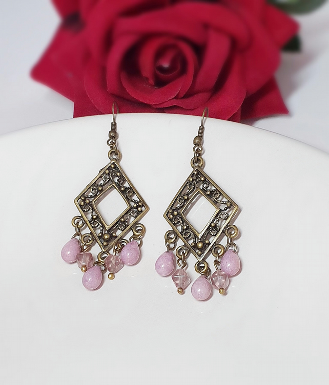 Lilac & bronze Czech glass chandelier earrings