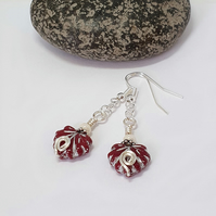 Dark red and silver Czech glass maple leaf earrings