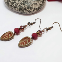 Deep red, olive and bronze rustic leaf earrings