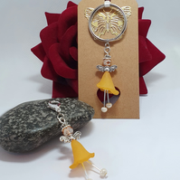 Flower Faerie keyring and bag charm in tangerine orange