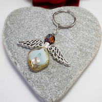 Large chunky Guardian Angel keyring in opal white