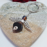 Large chunky Guardian Angel keyring in deep plum