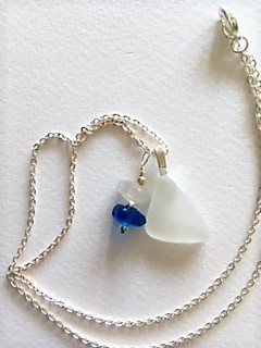 Pure white sea glass and glass bead sterling silver necklace