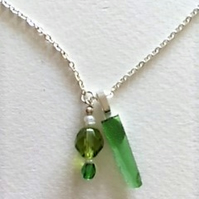 Green sea glass and glass bead necklace