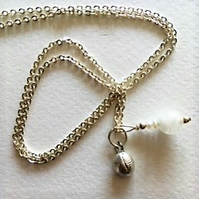 Small fine silver conch shell pendant necklace
