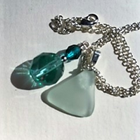 Seafoam sea glass pendant necklace with czech glass bead charm