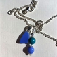 Bright blue small sea glass charm necklace