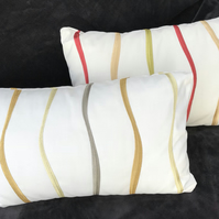 Cream Waves zipped pillow cover pair