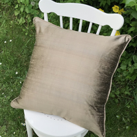 Pure silk, dark gold, large zipped cushion cover, with piping