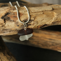 White and dark brown stacked sea glass necklace
